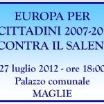 """27 luglio, convegno """"Europa per i Cittadini 2007-2013 incontra Il Salento"""""""
